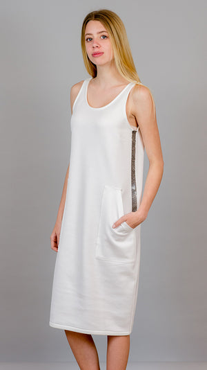 Sleeveless Dress with Beading - White - On Sale