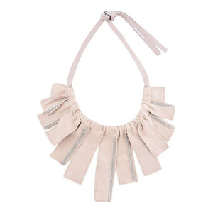 Suede Petal Necklace - Light Peach