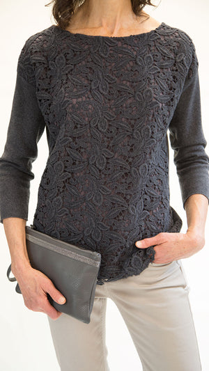 Sweater - Floral Lace Cutout