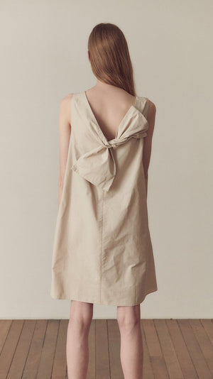 Hidden Forest Market Ceremony Mini Dress in Light Beige