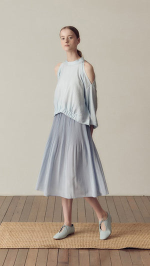 Hidden Forest Market Fortuna Pleats Silky Skirt in Light Blue