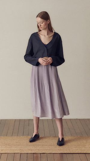 Hidden Forest Market Fortuna Pleats Silky Skirt in Lilla