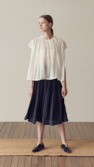 Hidden Forest Market Fortuna Pleats Silky Skirt in Navy