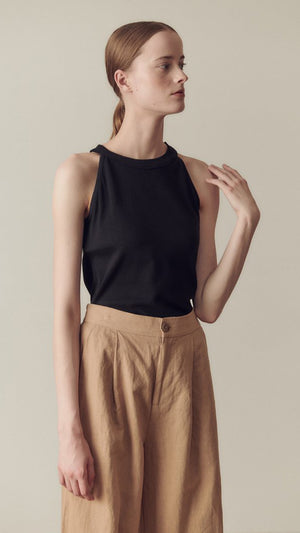 Hidden Forest Market Halter Neck T-Shirt in Black