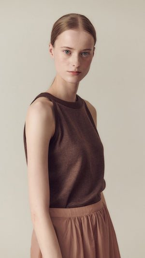 Hidden Forest Market Halter Neck T-Shirt in Brown