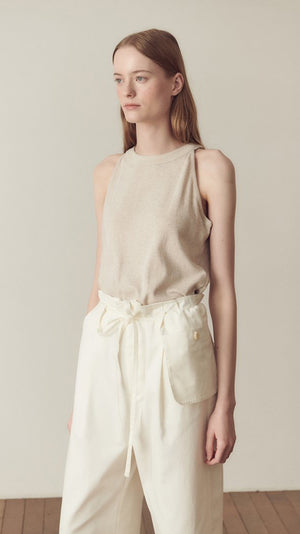Hidden Forest Market Halter Neck T-Shirt in Oatmeal