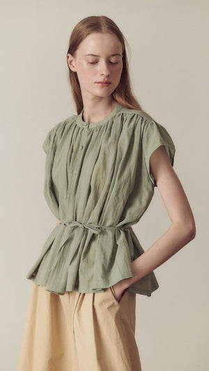 Hidden Forest Market Shirring Blouse in Light Olive