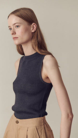 Hidden Forest Market Sleeveless Knit Top in Navy