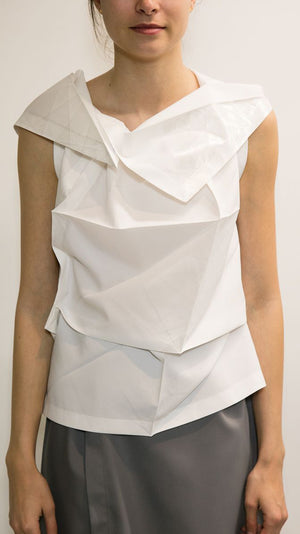 Issey Miyake 132.5 Standard Sleeveless Top in White and Silver