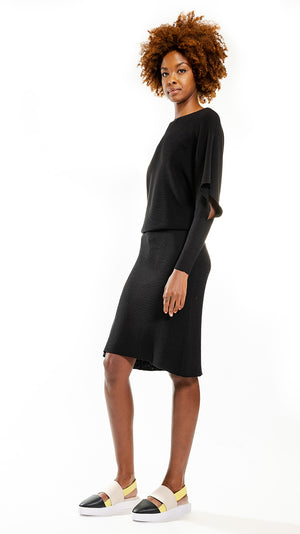 Issey Miyake 132.5 Flat Rib Knit 3 Dress in Black