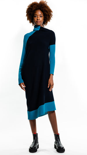 Issey Miyake 132.5 Flat Rib Knit 2 Dress in Navy and Turquoise