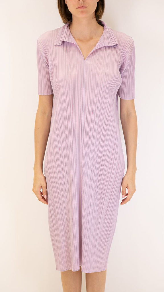 Issey Miyake Pleats Please Dress with Collar in Lilac