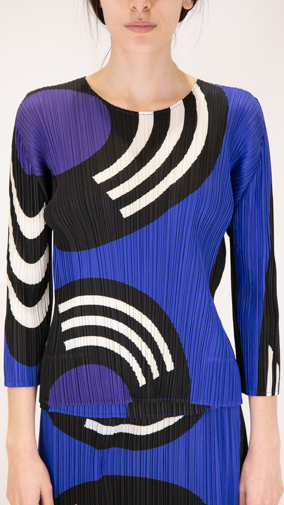 Issey Miyake Pleats Please Long Sleeve Record Top in Sapphire Blue