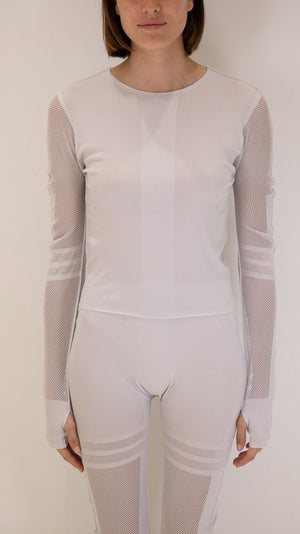 Issey Miyake Pleats Please A-Poc Long Sleeve with Mesh Cutout Details in Pearl White