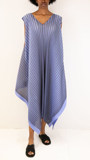 Issey Miyake Pleats Please Alt Bright Sleeveless Pleated Midi Dress in Light Blue