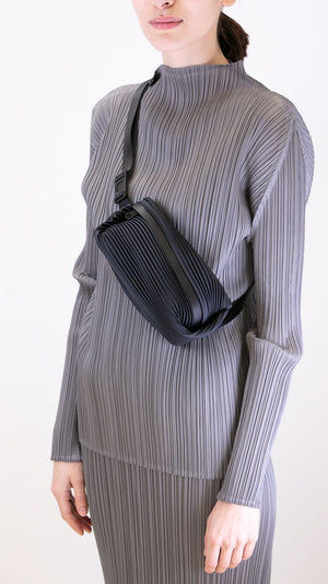 Issey Miyake Pleats Please Bias Belt Bag in Black