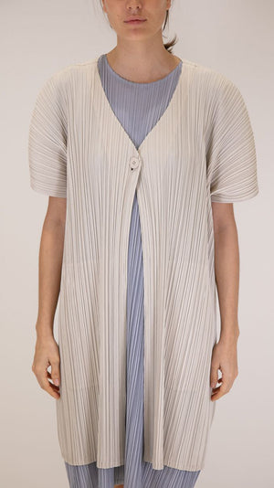 Issey Miyake Pleats Please Cap Sleeve Long Cardigan in Light Grey