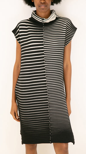 Issey Miyake Pleats Please Chira-Chira Knit Tunic in Black and White