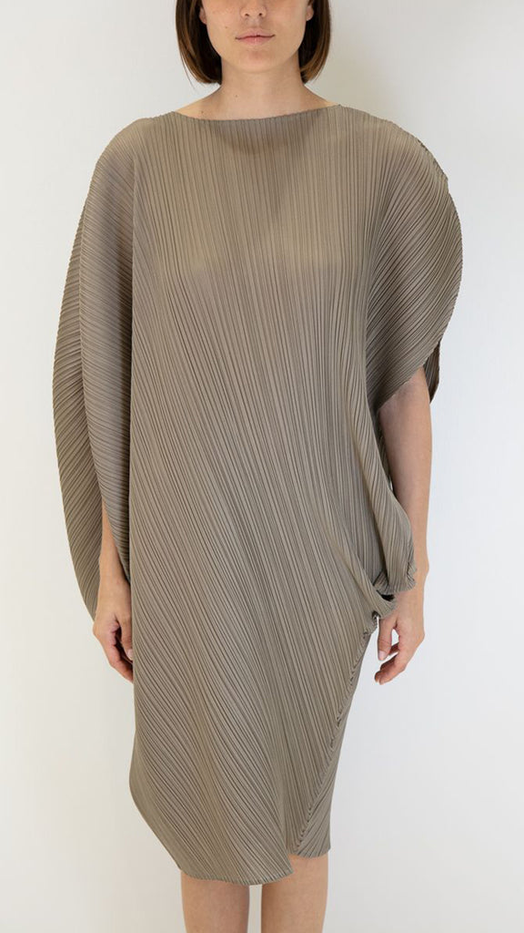 Issey Miyake Pleats Please Curved Cape-Sleeve Dress in Taupe