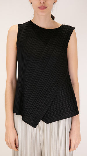 Issey Miyake Pleats Please Diagonal Pleats Sleeveless Top in Black
