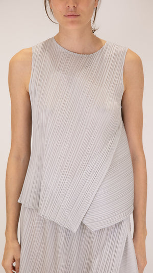 Issey Miyake Pleats Please Diagonal Pleats Sleeveless Top in Light Gray