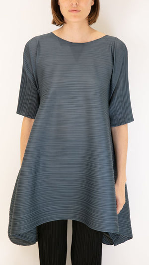 Issey Miyake Pleats Please Elbow Length Tunic with Drawstring Detail in Slate Blue