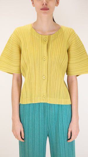 Issey Miyake Pleats Please Kanoko Short Sleeve Top with Buttons in Yellow