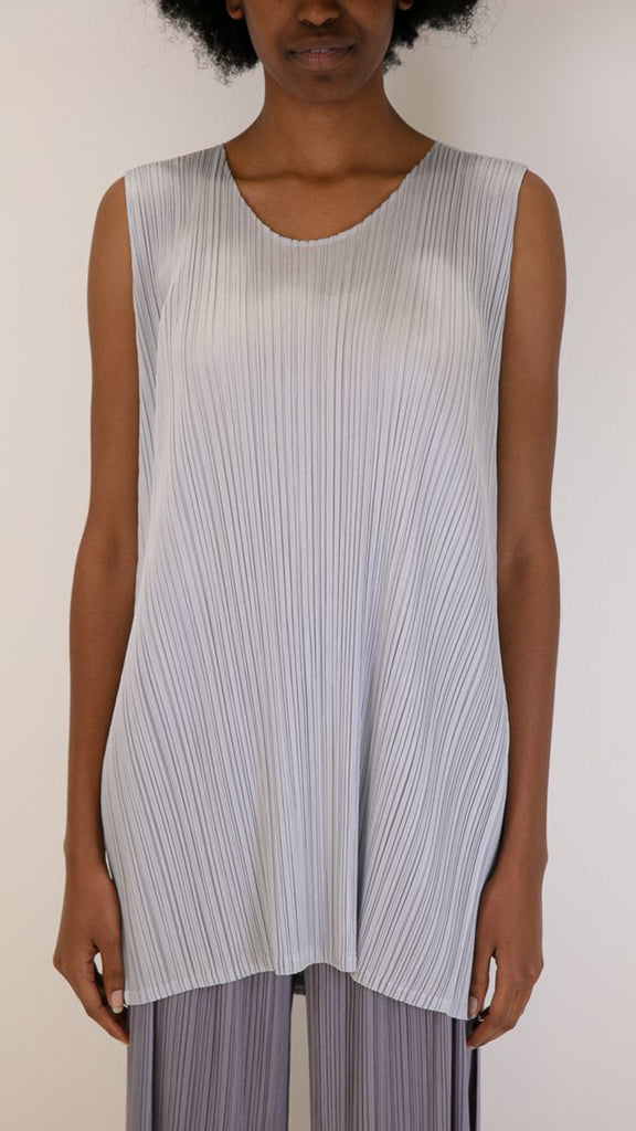 Issey Miyake Pleats Please Luster Sleeveless Top in Pale Blue
