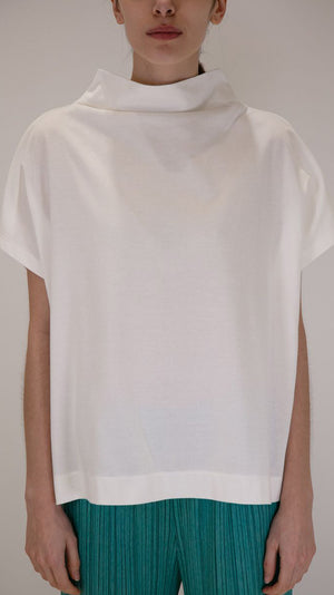 Issey Miyake Pleats Please Mock Neck Easy T-Shirt in White