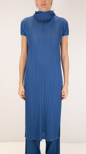 Issey Miyake Pleats Please Monthly Colors Mock Neck Dress in Blue