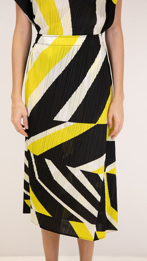 Issey Miyake Pleats Please Motion Skirt in Black, White and Yellow