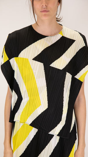 Issey Miyake Pleats Please Motion Top in Black, White and Yellow