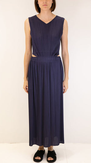 Issey Miyake Pleats Please Open Back Dress in Navy