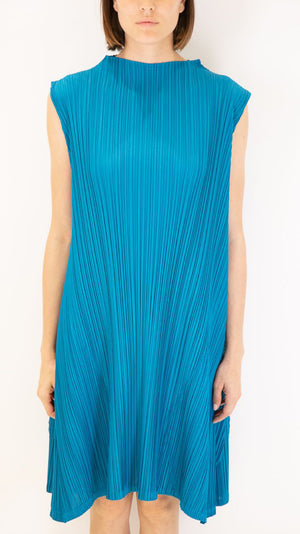 Issey Miyake Pleats Please Sleeveless Mock Neck Dress in Turqouise