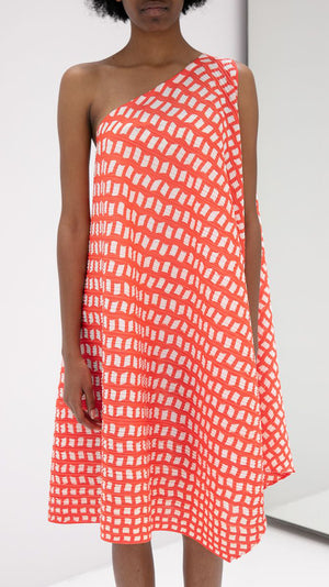 Issey Miyake Pleats Please Step One Shoulder Dress in Bright Red and White