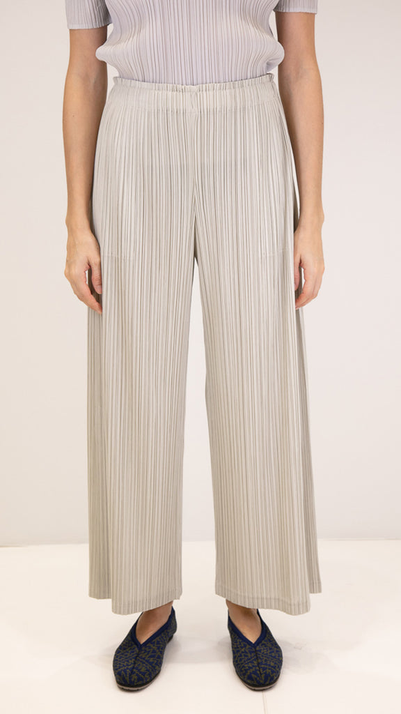 Issey Miyake Pleats Please Thicker Bottoms Pants in Ivory