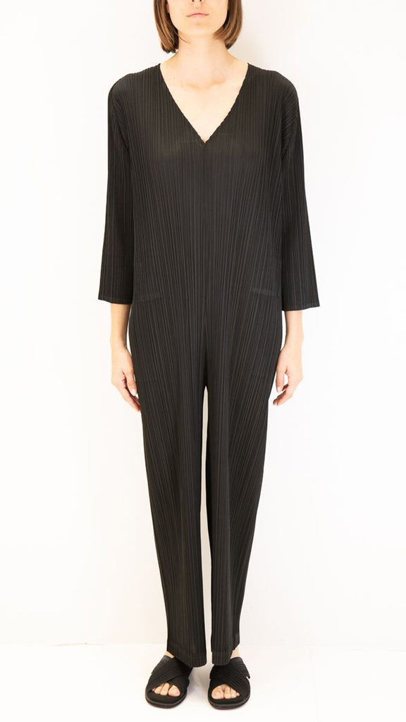 Issey Miyake Pleats Please V-Neck Jumpsuit in Black