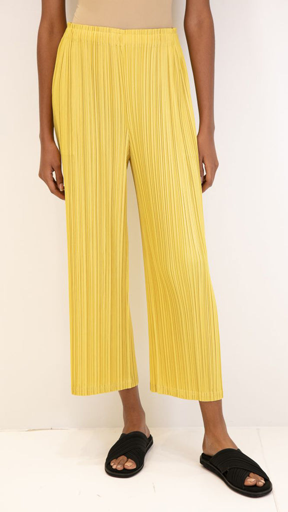 Issey Miyake Pleats Please Wide Leg Cropped Pants with Pockets in Yellow