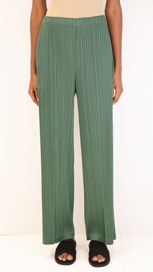 Issey Miyake Pleats Please Wide Leg Pants in Green