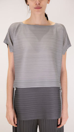Issey Miyake Stone Garden Gradation Top in Light/Dark Grey
