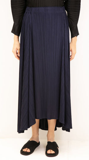 Issey Miyake Pleats Please Sliced Long Skirt in Navy