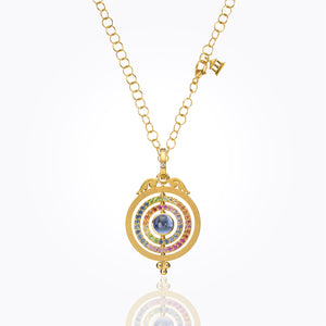 Temple St. Clair 18K Three Ring Tolomeo Pendant with Mixed Colored Sapphire and Diamond