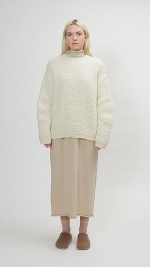 Lauren Manoogian Astrakhan Pullover in Raw White