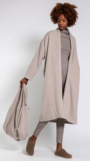 Lauren Manoogian Brushed Shawl Coat in Oatmeal