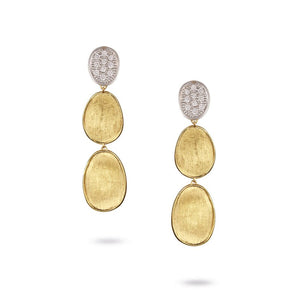 Marco Bicego Lunaria Collection Diamond Pave Small Triple Drop Earrings in 18K Yellow Gold