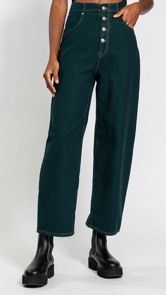 MM6 by Maison Margiela High Rise Jeans in Green