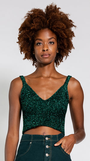 MM6 by Maison Margiela Lurex Crop Top in Green