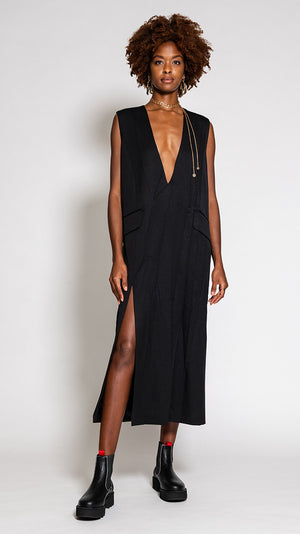 MM6 by Maison Margiela Crushed V-Neck Dress in Black