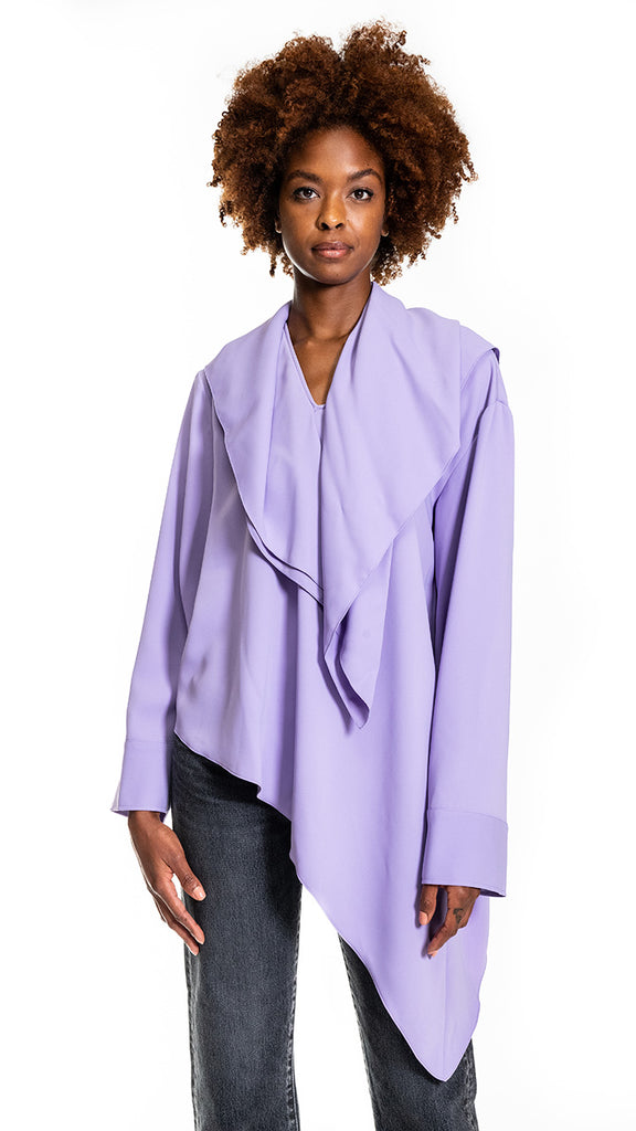 MM6 by Maison Margiela Long-Sleeve Asymmetric Blouse in Lilac