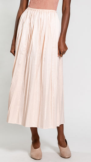 MM6 by Maison Margiela Long Pleated Skirt in Powder Pink